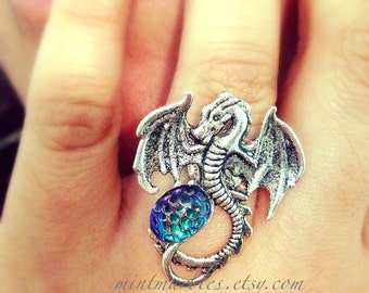 Silver Dragon & Egg Ring. Antique Silver. Mystical. Magic. Fantasy. Blue. Mystical Rings. Dragon Jewelry. Under 25. Gift
