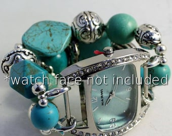 Simply Turquoise.. Turquoise Stone and Silver Interchangeable Beaded Watch Band