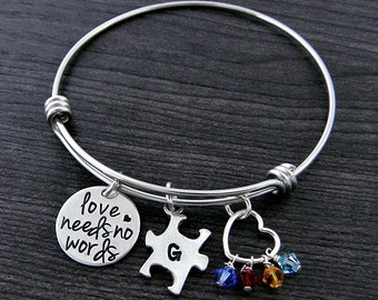 Autism Bracelet / Puzzle Piece Bracelet / Love Needs No Words / Autism Awareness Bracelet / Austism Mom / Wire Bangle Bracelet