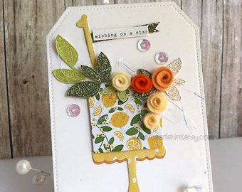 Shabby Chic Handmade Greeting Card~Cake Card~Felt Rose Card~lemon cake~green~yellow~gold~cream~coral~apricot~lime~orange