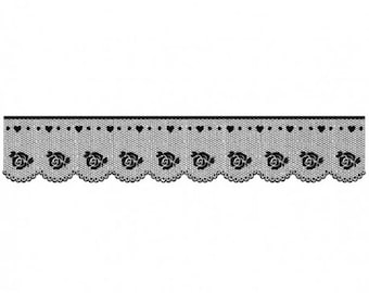 Acrylic stamp 4x18 lace with Rose