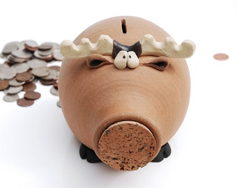 Moose Shaped Ceramic Piggy Bank - guaranteed to be amoosing!