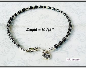 Black Ankle Bracelet, Root Chakra Hematite Anklet, Black and Silver Ankle Bracelet,  AB2013-04D