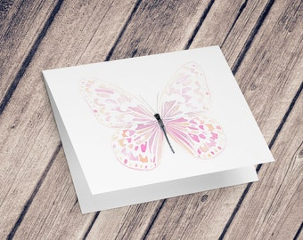 Wish card: Illustration reproduction painted with watercolor, Butterfly