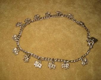 Sterling Silver Unicorn Charm Anklet Vintage