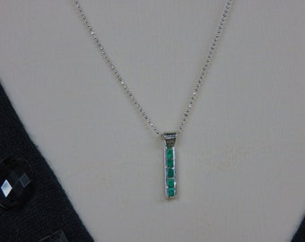 Emerald Necklace - May Birthstone Necklace - Emerald Channel-Set & Sterling Silver Necklace