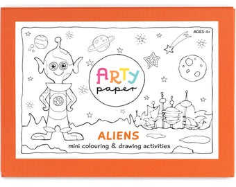 Kids Mini Colouring Folder- Aliens