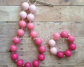Toddler Pink Chunky Necklace, Pink Toddler Necklace, Pink Necklace, Pink Baby Necklace, Ombre Necklace, Girl's Pink Necklace