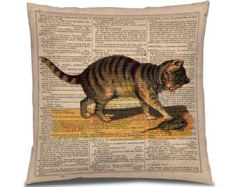 Vintage Cat PIllow Cover, Cat and Mouse Retro Illustration, Cat on Dictionary Print, Gift for cat lover, Tabby Cat Image, Bedroom Decor