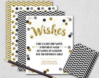Wish Jar, Birthday Wish Jar, Black and Gold Glitter / INSTANT DOWNLOAD / PRINTABLE / 9120