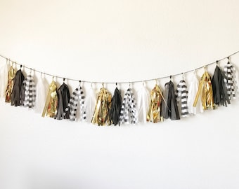 Black, White , Gold, and Black and White Striped Tassel Garland | Tassel Garland | Tassel Banner | Black and White Party Decor | Tassels