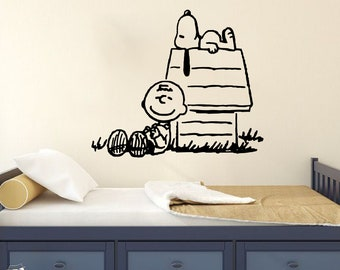 Peanuts Charlie Brown and Snoopy Resting Vinyl Decal Sticker For Decoration