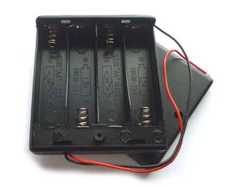 4 AA 6v Enclosed Battery Box with Slide Switch, Flying Leads and Lid, MN1500 Battery Box