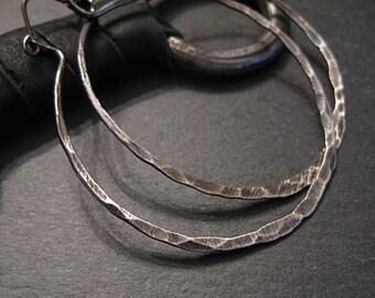 Two Inch Ombre Black Hoop Earring Hammered Silver Earrings Oxidized Black Rhodium Hoops Artisan Metalsmith Boho Earring Large Hoop Earring