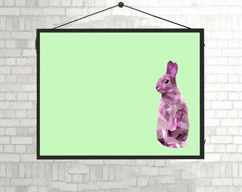 Pink Rabbit unframed A3 Print