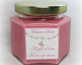 Heaven Sent Baby Girl Shower Favor, Soy Candle, 4 Ounce Hexagon Jars, Gold Lid, You choose Candle Color and Fragrance