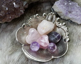 Rose quartz and amethyst set/Love and healing/Crystal spheres/Gemstone marbles/Healing Crystal/Pagan witchcraft/Gifts for wife/ crystal sets