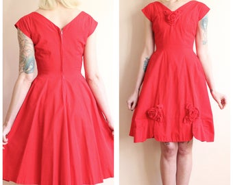 1950s Dress // Roses are Red Dress // vintage 50s dress