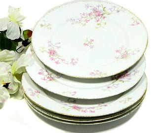 Five Antique Charles Field Haviland GDA Limoges Luncheon Plates Pink Floral