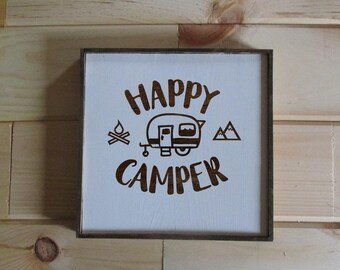Happy camper wooden sign.  Made to order happy camper sign.  White and wood rustic farmhouse style camping sign.