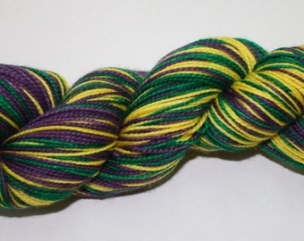 Mardi Gras Self Striping Hand Dyed Sock Yarn