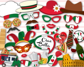 Printable Italy Party Photo Booth Props, I love Italy Travel Party Photo Booth Props, Printable Inspired Italian Party Photobooth Props 0046