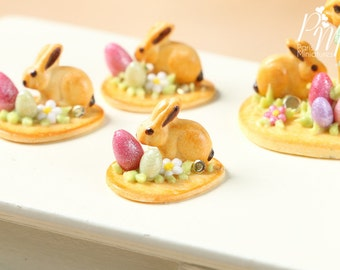 Easter Cookie Baby Bunny Rabbit, Eggs and Blossom - Individual Pastry - Miniature Food in 12th Scale for Dollhouse