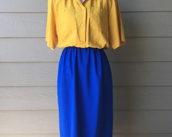 Vintage Dress // 1980's Colorblock