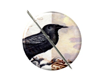 Victorian Crow needle minder magnet cross stitching sewing tool sewing notion wife gift under 10 stocking stuffer vintage art collage