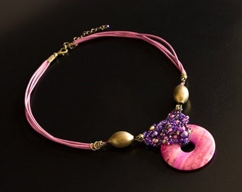 Pink Leather Necklace with Crazy Agate Gemstone Pendant, Brass Beads and Beaded Bail in Purple, Violet and Fuchsia. One of a Kind. S186