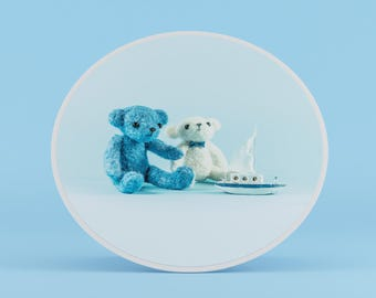 Two Bears with Sailing Boat Card, Card For Boy, Holidays Card, Baby Cards