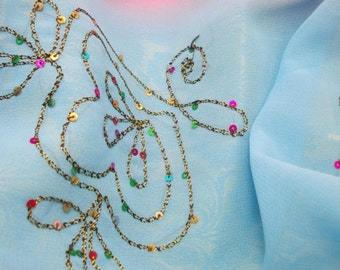 Light and Ephemeral Pink and Blue Sari with a Light Gold Border and Delicate Sequined Embellishments