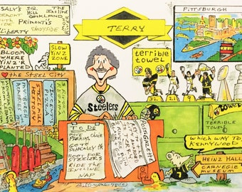 PITTSBURGH REGIONAL-THEMED Personalized Cartoon