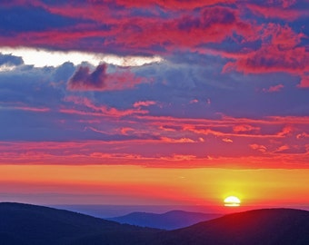 Sunrise on Skyline Drive, Virginia: archival print signed and matted