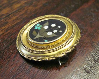 Antique Victorian Mosaic Brooch - 14KT - Pin -  Pietra Dura  - Lily of the Valley - 1870s - 19th Century