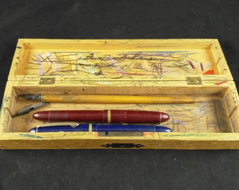 wooden box with old pens, dip pens, dip pen, wood box, ink pen, ink pens, vintage pens, vintage box, fountain pen, vintage dip pens,
