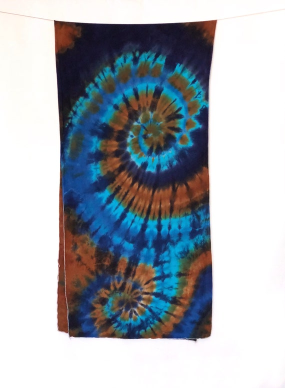 Hand Dyed Tie Dye Scarf in Periwinkle, Glacier Blue, Deep Navy & Brown/Womens Tie Dye/Eco-Friendly Dying