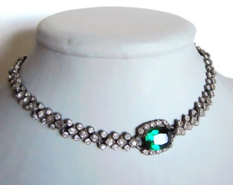 Green and clear rhinestone choker necklace vintage Green Faceted  Czech glass stone 1950's necklace