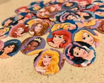 Princess Confetti - 100 Pieces 1 Inch Scallop - Ariel, Belle, Cinderella, Rapunzel, Tiana, Mulan Birthday Confetti -  Cupcake Toppers
