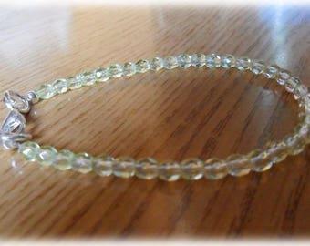 Yellow transparent clear bead Stretch Bracelet
