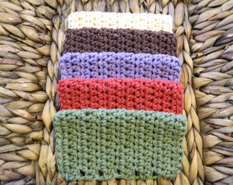Set of 5 Country Primitive Crocheted Dish Cloths - Smaller 6x6 Size