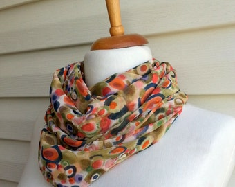 Mothers Day Gift Bubbles infinity scarf, Gift For Mom, Chiffon Scarf, Urban Outfit, Lightweight Spring Fashion Under 20, Multicolor Scarf