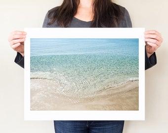 Beach photography print, serene coastal decor. Florida ocean art photograph, minimal seaside modern wall art. Small / large format artwork