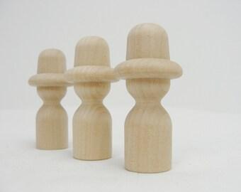Wooden peg people cowboy unfinished DIY set of 3