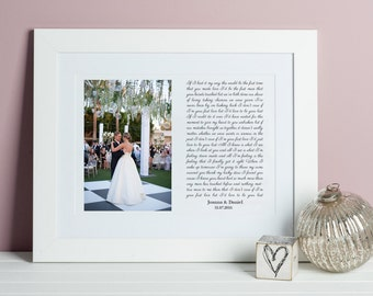 Song Lyrics and Photo Print - Wedding Song Lyrics Art - Unique Wedding Gift for Couple - Valentines Day Gift for Him - Framed Song Lyrics