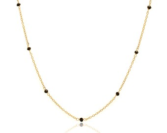 Delicate Gold and Black Spinel Chain Necklace - 16in. Necklace - 14k Gold Filled - Small Faceted Black Spinel Gemstones - Gold Chain