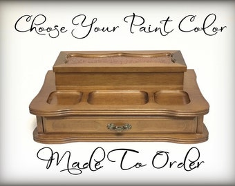 Custom Vintage Mens Valet with Drawer, Hand Painted, Your Choice Color and Design, Mens Jewelry Box, Gift, Catchall Keys Wallet Tray,  OOAK