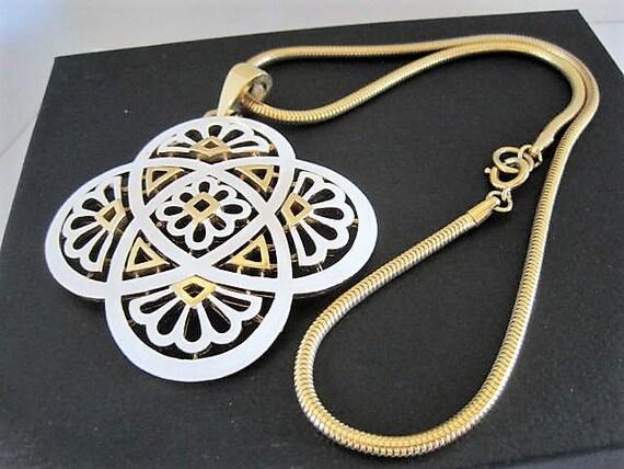 Crown Trifari Necklace, White Pendant, Gold Chain, Decorative Enamel