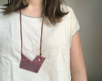 Purple Speckled Ceramic Necklace with Leather Cord