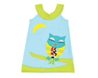 Sleepy Owl Dress in Sky Blue & Lime